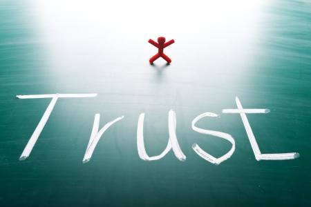 trust: I trust concept, conceptual words on blackboard