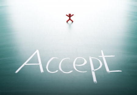 I accept, conceptual words on blackboard photo