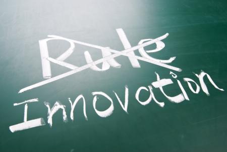 Break the rule for innovation, conceptual words on blackboard Stock Photo - 18813442