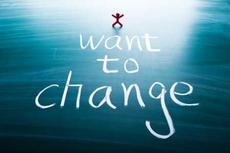 adapting: I want to change, colorful conceptual words on blackboard.