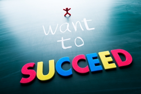 adapting: I want to succeed, colorful conceptual words on blackboard.