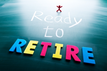 financial questions: I ready to retire, colorful conceptual words on blackboard.  Stock Photo