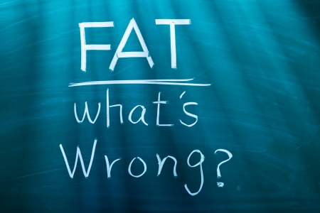 Fat, what is wrong? conceptual words on blackboard Stock Photo