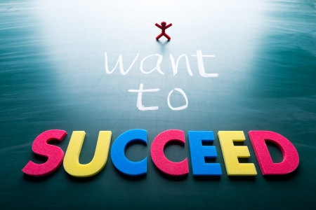 I want to succeed, colorful conceptual words on blackboard.  Stock Photo - 18953339
