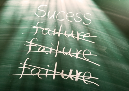 Failure to success, conceptual words on blackboard photo