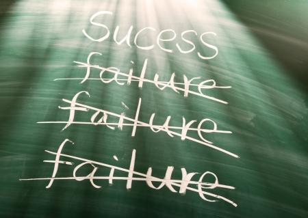 failed plan: Failure to success, conceptual words on blackboard Stock Photo