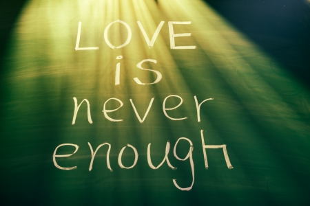Love is never enough, conceptual words on blackboard photo