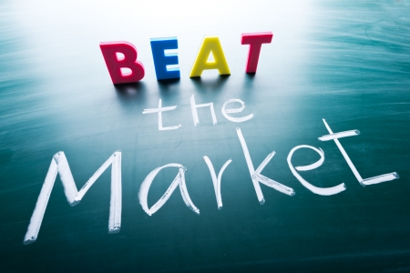 beat the competition: Beat the market, conceptual words on blackboard