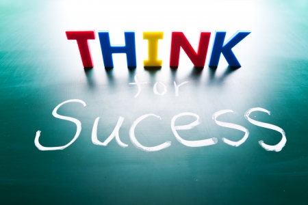 Think for success concept, words on blackboard Stock Photo - 19559624