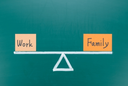 busy life: Work and family balance concept, words and drawing on blackboard