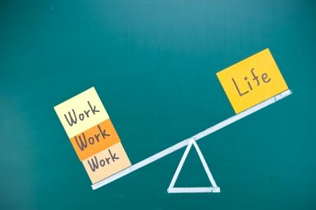 imbalance: Werk en leven onbalans begrip, woorden en tekening op blackboard Stockfoto