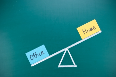 busy life: Office and home imbalance concept, words and drawing on blackboard