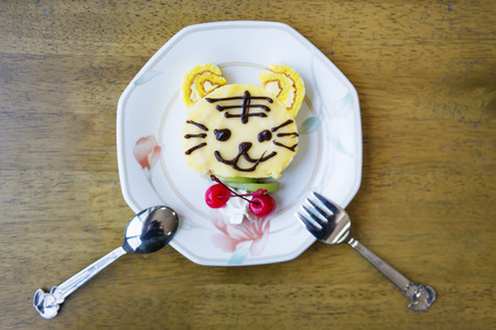 decorated cake: A cute tiger cartoon decorated cake.