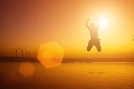 Excited Jump as success concept 版權商用圖片