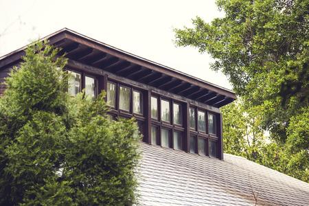 arboles frondosos: tragaluces en un techo de un edificio con un tejado de tejas rodeado de árboles de hoja verde refleja en el vidrio
