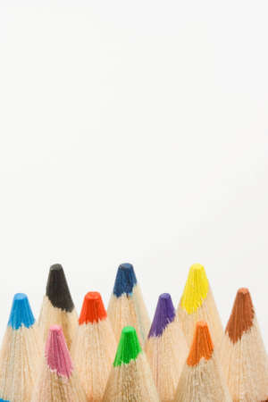 Image of Colored pencils on white background photo