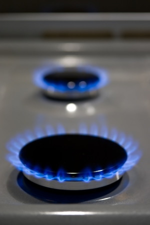 Burning gas cooker rings ready to cook Stock Photo - 17594991