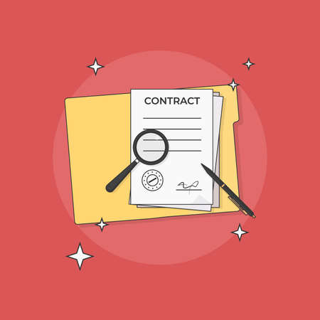 Contract Magnifying Glass and Pen Vector Illustration