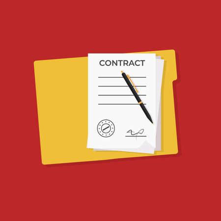 Contract, Pen Vector Illustration