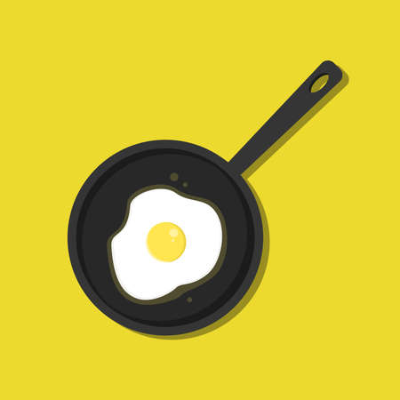 Flat Frying pan with egg