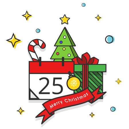 Christmas Tree, Gift box, Candy Cane, Christmas ball and Calendar  イラスト・ベクター素材
