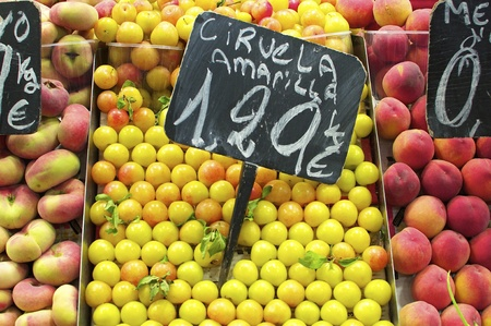boqueria: a fruit stall in the covered market, la boqueria in barcelona