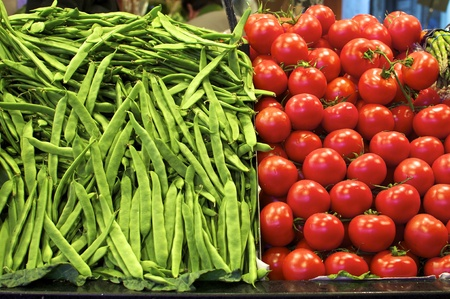 beans and tomatoes at the market in barcelona