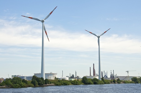 a wind power plant in the port of hamburg.