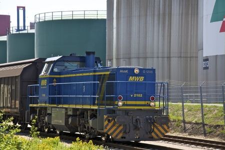 railway transportation: the port railway transportation of containers Stock Photo