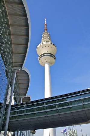 the television tower in hamburg in the fair halls
