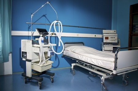 a hospital room with medical device