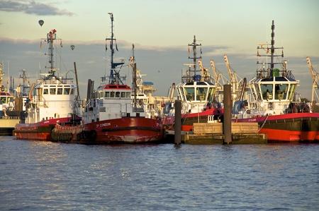september 2011 hamburg harbor tugs waiting to be used