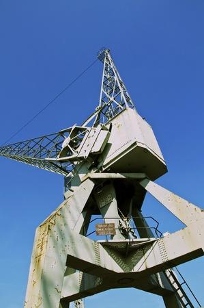 harbor crane for the cargo Stock Photo