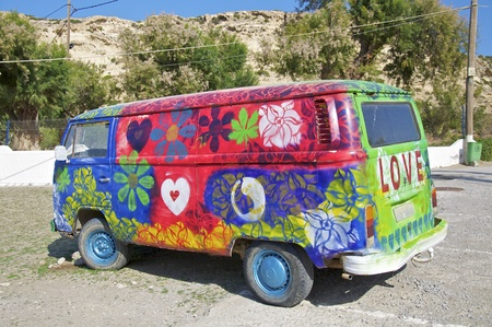 hippie bus in the south of matala crete