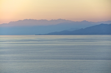 The White Mountains on Crete at sunset with a view to the Libyan Sea  Stock Photo
