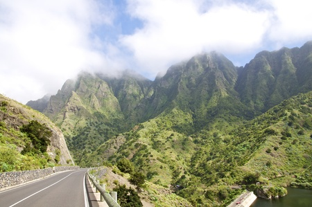 Fog in the mountains of La Gomera in the Canary Islands Stock Photo