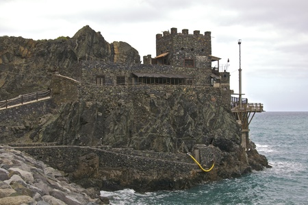 The banana loading station Castillo del Mar. Today, an arts and cultural center in Vallehermoso on La Gomera Stock Photo