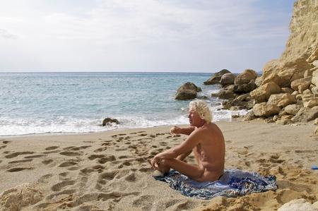 November 2011. Matala Crete. The last hippie at Red Beach near Matala