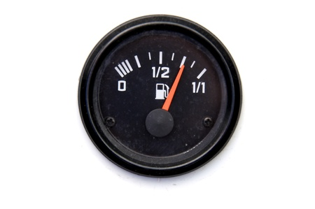 Three-quarters full  Fuel gauge on the car photo