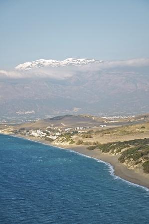 ida: The snowy Ida Mountain with the beach of Komos on Crete