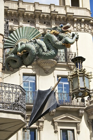 Dragon at the Casa Bruno Quadros on the Rambla in Barcelona