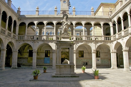 23 04 2011 Barcelona  This is the historic courtyard of the National Library of Catalonia in Barcelona  The National Library was once a hospital