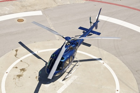 helicopter pad: On a helicopter landing pad at the Port of Barcelona