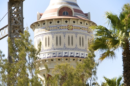 Restored water tower with Moorish elements in Barcelona Editorial