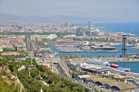 Panoramic view of the harbor of Barcelona