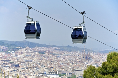 Cable car to Montjuic in Barcelona  A beautiful viewpoint over the city photo
