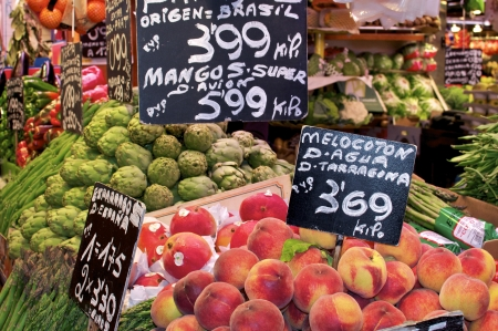 boqueria: Barcelona, La Boqueria  A covered market for fish, meat, vegetables, fruits and foods of all kinds Stock Photo