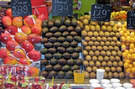 Price tags on fruit and vegetable stand