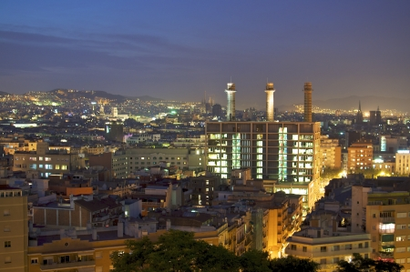 Wonderful view of an illuminated Barcelona at night
