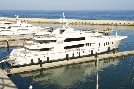 Luxury yachts in Port Forum in Barcelona